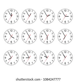 Clock Icon Set. Classic round wall clock isolated on white. Empty dial watch. Isolated on white background. Vector illustration