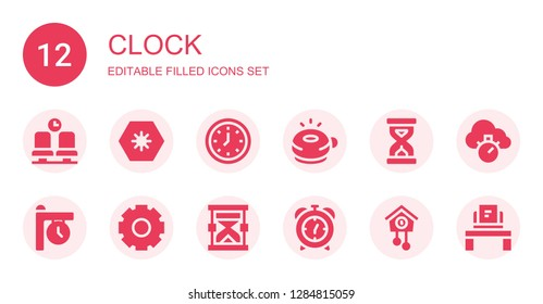 clock icon set. Collection of 12 filled clock icons included Waiting room, Day, Wall clock, Ringer, Sandclock, Clock, Cogwheel, Hourglass, Alarm Cuckoo Chronometer