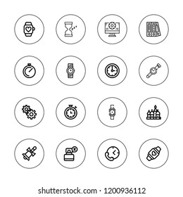 Clock icon set. collection of 16 outline clock icons with bell, blinder, clock, chronometer, hourglass, kremlin, management, smartwatch, sleep, stopwatch, time icons.