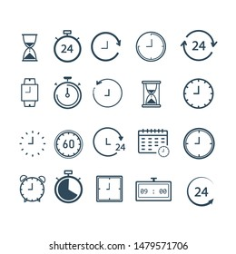 Clock Icon set Isolated. Time Logo. Trendy Watch, Timepiece or Timer Symbol. Vector
