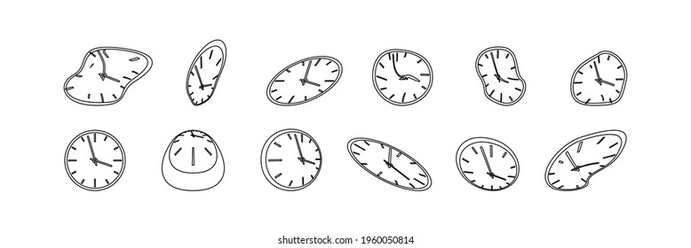 Clock icon set in liquid deformed line Dali style, melting clocks distorted shape, linear collection illustration.