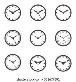 Clock Icon Set - Outline Isolated Vector Illustration.