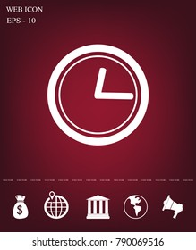 clock icon with shadow on a grey background