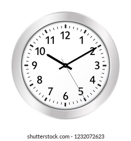 Clock Icon with Silver Border and Classical 10 Past 10 Adjustment and Black Clock Face - License it As Vector -> Adjust The Clock Yourself. Useful For Jeweler Shops or Clockmaker - Vector Illustration