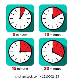 Clock Icon Stopwatch Set. Vector Five, Ten, Fifteen and Twenty Minutes Time Deadline Symbols.
