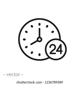 clock icon, time line sign on white background - editable vector illustration