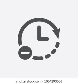 Clock icon. Time reduce icon simple vector iIllustration. Less time concept