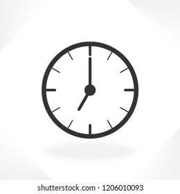 Clock icon in trendy flat style isolated on background