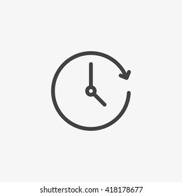 Clock Icon in trendy flat style isolated on grey background. Time symbol for your web site design, logo, app, UI. Vector illustration, EPS10.