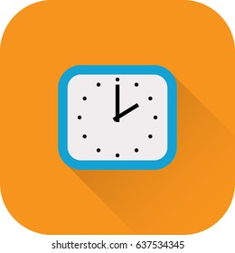 Clock icon. Vector. Flat design with long shadow. Blue time symbol isolated on orange background.