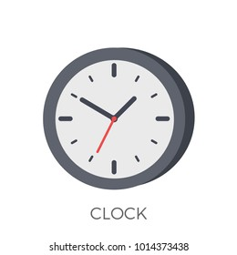 Clock Icon Vector. Isolated on White Background. Trendy Flat Style.