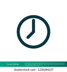 Clock Icon Vector Logo Template