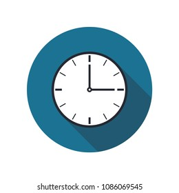 Clock icon vector with shadow on a blue circle background for website design in flat style. Office clock icon, Time icon. Three o'clock. Vector illustration, eps10