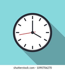 Clock icon vector with shadow for website design in flat style. Office clock icon, Time icon. Four o'clock. Vector illustration, eps10