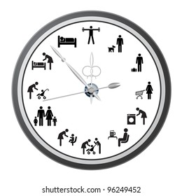 Clock of icons of people, the concept of the working day. Vector illustration. Rasterized version also available in portfolio.