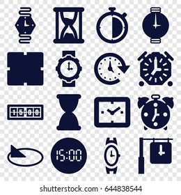 Clock icons set. set of 16 clock filled icons such as wrist watch, time, wrist watch for woman, sundial, hourglass, alarm