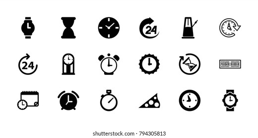 Clock icons. set of 18 editable filled and outline clock icons: 24 hours, wrist watch, wrist watch for woman, sundial, hourglass, pendulum, alarm, time
