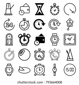 Clock icons. set of 25 editable outline clock icons such as wallet, time, hourglass, 24 hours, alarm, metronome, stopwatch, wrist watch, wrist watch for woman, sundial