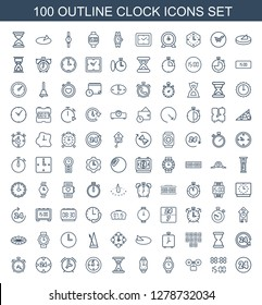 clock icons. Trendy 100 clock icons. Contain icons such as hours, digital time, alarm, wrist watch, hourglass, hour, support, digital clock, sundial. clock icon for web and mobile.
