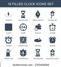clock icons. Trendy 16 clock icons. Contain icons such as sundial, hourglass, wrist watch, pendulum, hour, wallet, alarm, stopwatch, cuckoo clock. clock icon for web and mobile.