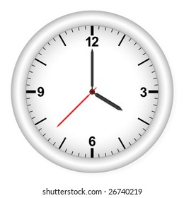 Clock isolated on white background. Vector illustration.