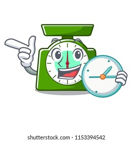 With clock kitchen scale character cartoon
