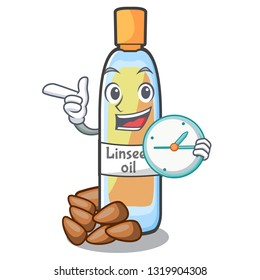 With clock lenseed oil in the character shape