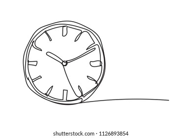 clock, line drawing style,vector design