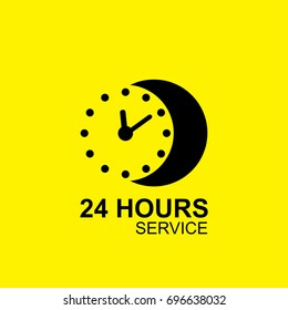 Clock logo design vector with 24 hours service concept