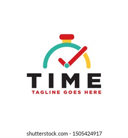 Clock logo. Stopwatch time logo illustration. Simple design on white background.