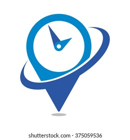 clock logo vector. pin logo.
