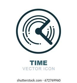 Clock logo. Watch icon. Time flow theme. 24 hour.  twenty four hour,