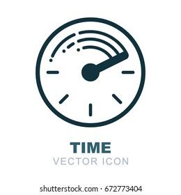 Clock logo. Watch icon. Time flow theme. Twenty four hour symbol.