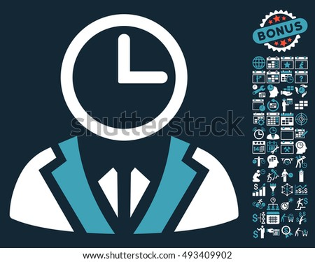 64cbec1aa87 Clock Lord icon with bonus calendar and time management pictures. Vector  illustration style is flat