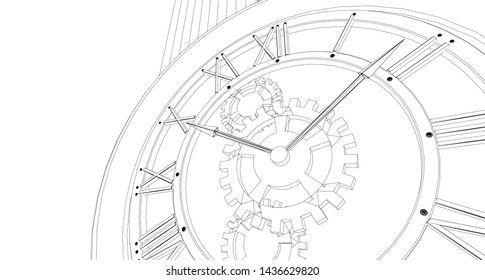 clock, mechanism, sketch, 3d illustration