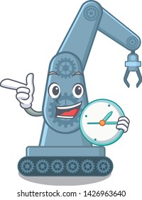 With clock mechatronic robotic arm in mascot shape