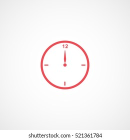 Clock Midnight Christmas New Year Red Flat Icon On White Background