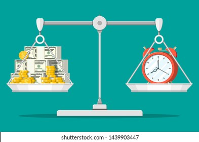Clock and money on balance scales. Annual revenue, financial investment, savings, bank deposit, future income, money benefit. Time is money concept. Vector illustration in flat style