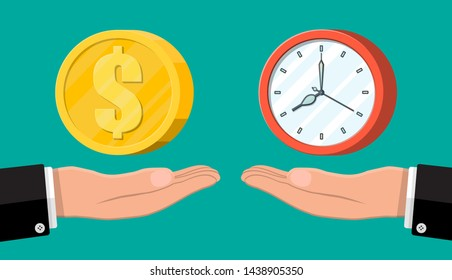 Clock and money on hand scales. Annual revenue, financial investment, savings, bank deposit, future income, money benefit. Time is money concept. Vector illustration in flat style
