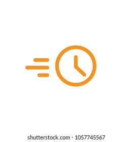 Clock in motion line icon. quick time. rush hour logo. Speed timer symbol. fast speed delivery. Timely service. Express. Vector illustration isolated on white
