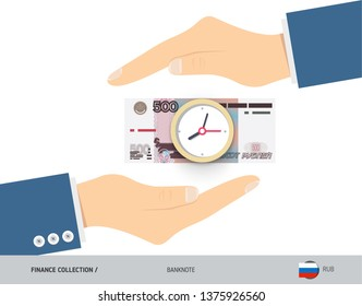 Clock on 500 Russian Ruble Banknote. Flat style vector illustration. Time and Business concept.