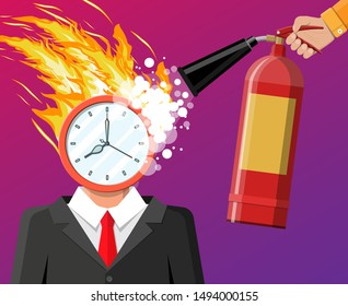 Clock on businessman head in fire. Deadline, late with working task. Overworked business man, stressed office worker. Time management. Control strategy projects planning. Flat vector illustration