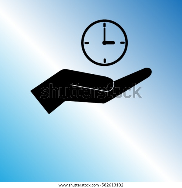 Clock on the hand icon, timer vector illustration
