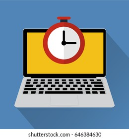 Clock on laptop computer with long shadow. Vector illustration online work hours concept.