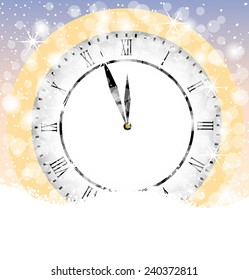 clock on to snow,vector illustration