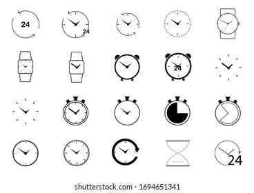 Clock outline icon set.collection clock icon vector.