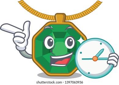 With clock peridot jewelry in a cartoon box