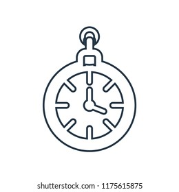 Clock pointing four o'clock icon vector isolated on white background for your web and mobile app design, Clock pointing four o'clock logo concept , outline thin shape on line style with strokes