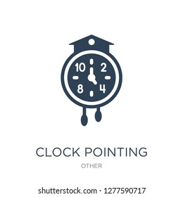 clock pointing four o'clock icon vector on white background, clock pointing four o'clock trendy filled icons from Other collection, clock pointing four o'clock vector illustration