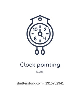 clock pointing four o'clock icon from other outline collection. Thin line clock pointing four o'clock icon isolated on white background.
